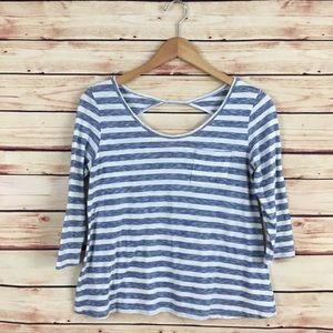 Anthropologie Striped Shirt Blue White Keyhole S